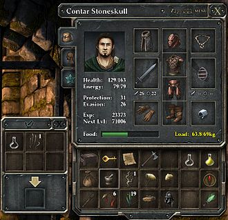 "Player character - A player character named ""Contar Stoneskull"" in Legend of Grimrock. The squares contain icons representing items he is wearing and items he is carrying on his adventure. Statistics such as his health and experience are also listed."