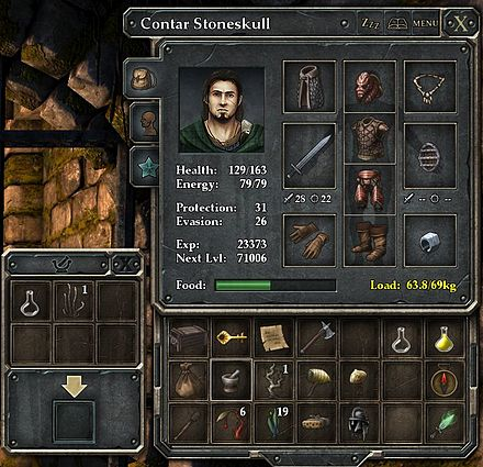 "A player character named ""Contar Stoneskull"" in Legend of Grimrock. The squares contain icons representing items he is wearing and items he is carrying on his adventure. Statistics such as his health and experience are also listed. Legend of Grimrock screenshot 01-cropped.jpg"