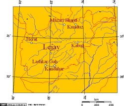 Lejay, and some major cities of Afghanistan.