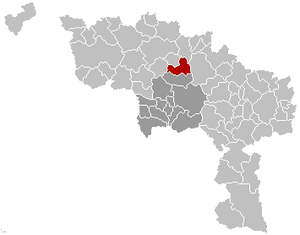 Lens, Belgium - Image: Lens Hainaut Belgium Map