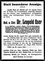 Leopold Oser death notice, Vienna, 1910.jpg