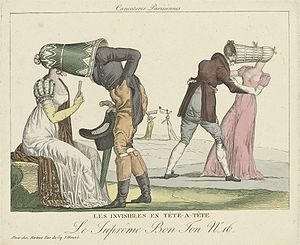 Poke bonnet - Late 1810s French cartoon lampooning the poke bonnet