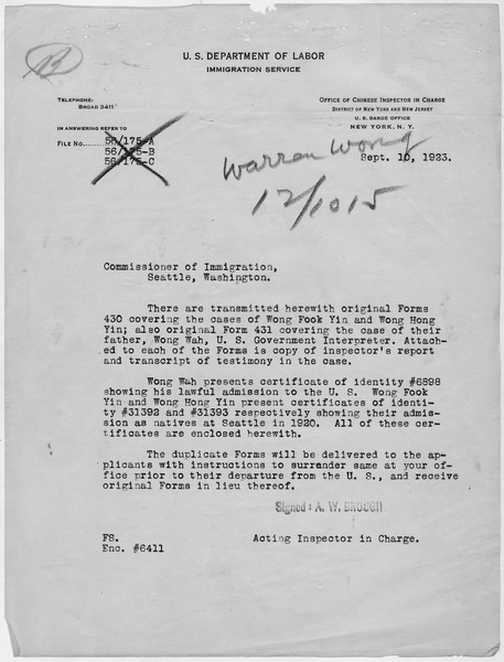 File:Letter from the Acting inspector in Charge transmitting the Application for Preinvestigation of Status for Warren... - NARA - 278633.tif