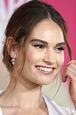 A head-and-shoulder shot of Lily James at the Baby Driver Sydney premiere