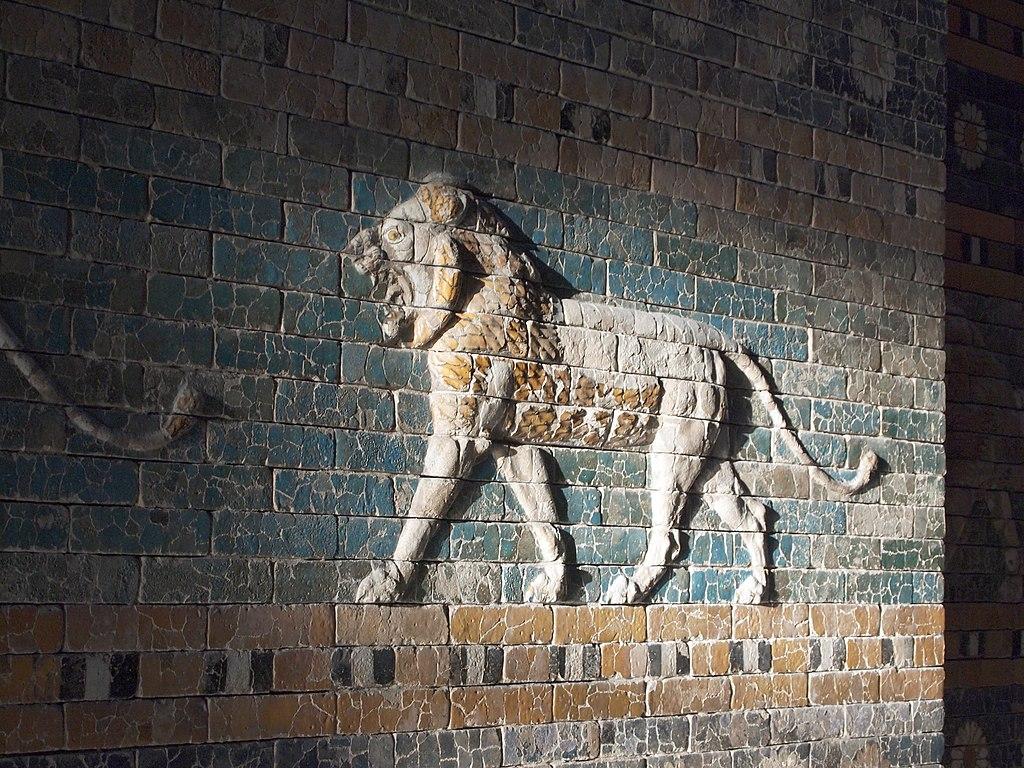 Lion en procession sur la porte d'Ishtar de Babylone - Photo de Miia Ranta.