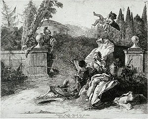 Lorenzo Baldissera Tiepolo - Rinaldo and Armida Watched by two Soldiers, c. 1750-55