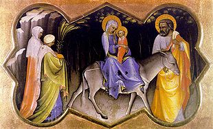 Joseph leads Mary and Jesus to safety in Egypt to escape from Herod (see Matthew 2:13-15), as depicted by Lorenzo Monaco (1405).