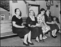Lucy Sergent, in flowered dress, attends Sunday school at the Pentecostal Church of God. Lejunior, Harlan County... - NARA - 541347.tif