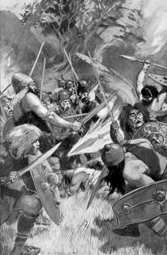 Lugh - 1905 illustration of Lugh's bloodthirsty magical spear by H. R. Millar