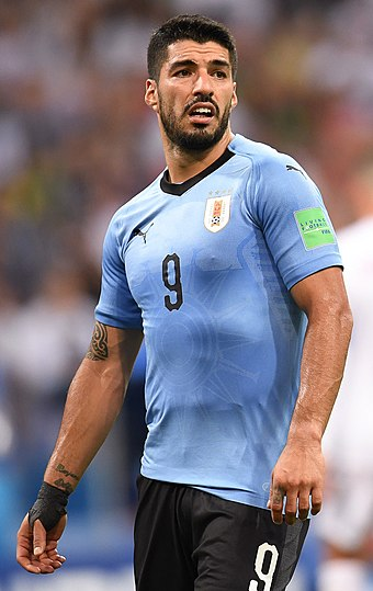 Suarez playing against Portugal in the last 16 of the 2018 World Cup Luis Suarez Uruguay.jpg