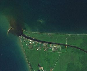 Baram River - Mouth of Sungai Baram with black water plume