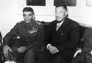 Ma Bufang - Egyptian President Muhammad Naguib with General Ma Bufang.