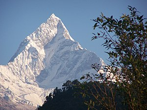 Sacred mountains - Machapuchare, a sacred Nepalese mountain, viewed from foothills