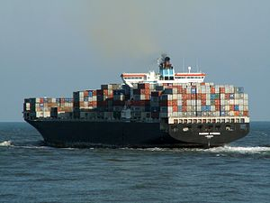 Maersk Kyrenia p3, leaving Port of Rotterdam, Holland 12-Mar-2006.jpg
