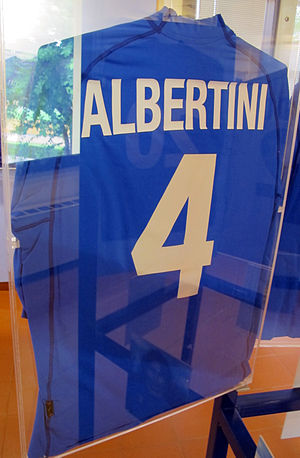 Demetrio Albertini - Albertini's Euro 2000 Italy jersey located in the Football Museum in Florence