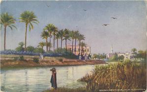 Mahmoudiyah Canal - Postcard showing the Mahmoudiyah Canal