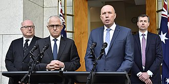 Peter Dutton - Dutton (second from right) announcing the creation of the new Home Affairs portfolio in July 2017.