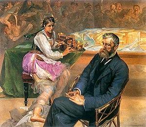 Adam Asnyk - Adam Asnyk and the Muse, painting by Jacek Malczewski