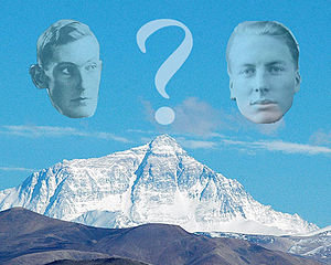 Mallory and Irvine Research Expedition - George Mallory (left) and Andrew Irvine (right) overlaying Mount Everest North face as seen from the Tibetan plateau in China.