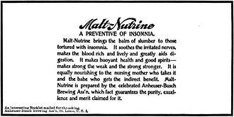 Anheuser-Busch - 1898 magazine ad for Malt-Nutrine.
