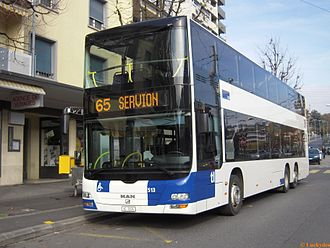 Public transport in the Lausanne Region - TL operate double decker buses on some longer-distance routes