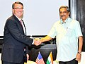 Manohar Parrikar meeting the US Secretary of Defence Mr. Ashton Carter, on the sidelines of the 3rd ASEAN Defence Ministers' Meeting (ADMM-plus), in Kuala Lumpur, Malaysia on November 03, 2015.jpg