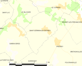 Mapa obce Saint-Germain-de-Fresney