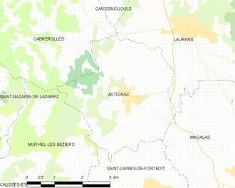 Autignac - Map