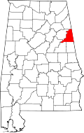 Map of Alabama highlighting Cleburne County