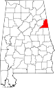 Map of Alabama highlighting Cleburne County.svg