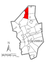 Map of Columbia County, Pennsylvania highlighting Jackson Township