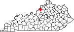 State map highlighting Oldham County
