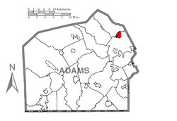 Location within Adams County