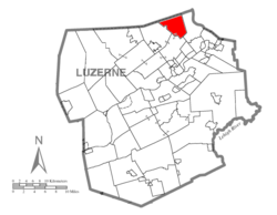 Map of Luzerne County highlighting Franklin Township