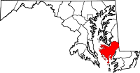 Map of Maryland highlighting Dorchester County