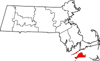 Map of Massachusetts highlighting Dukes County