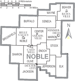 Map of Noble County Ohio With Municipal and Township Labels.PNG