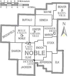 Noble County, Ohio - Map of Noble County, Ohio with municipal and township labels