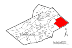 Map of Schuylkill County, Pennsylvania Highlighting West Penn Township