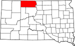 State map highlighting Corson County