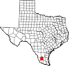 State map highlighting Jim Hogg County
