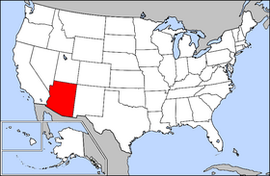 Map of the United States with Arizona highlighted