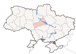Location o Cherkasy Oblast (red) athin Ukraine (blue)