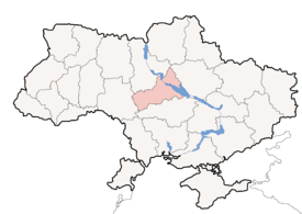 Map of Ukraine with 切爾卡瑟州 highlighted
