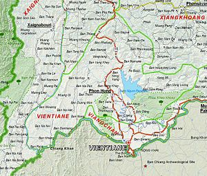 Vientiane Province - Image: Map of Vientiane Province, Laos