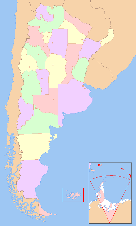 Map of the Provinces of Argentina