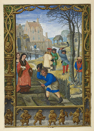 Golf book - Image: March gardening and felling trees; and playing with rattles The Golf Book (1520 1530), f.20v BL Add MS 24098