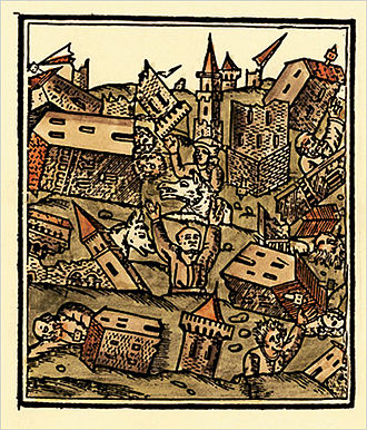 1509 Constantinople earthquake - Woodcut depicting the effects of the 1509 earthquake