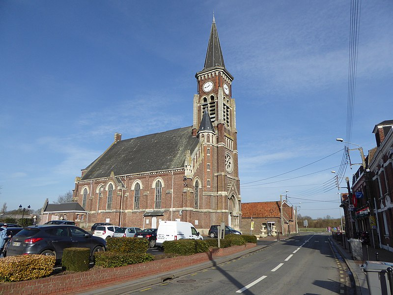 L'église Ste-Genevieve Marquillies Nord.- France.