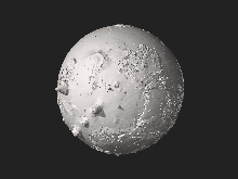 Reconstruction tridimensionnelle interactive de Mars, hauteurs 20 fois exagérées.